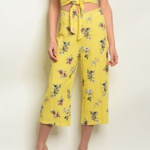 Floral High Waisted Floral Crop Pants